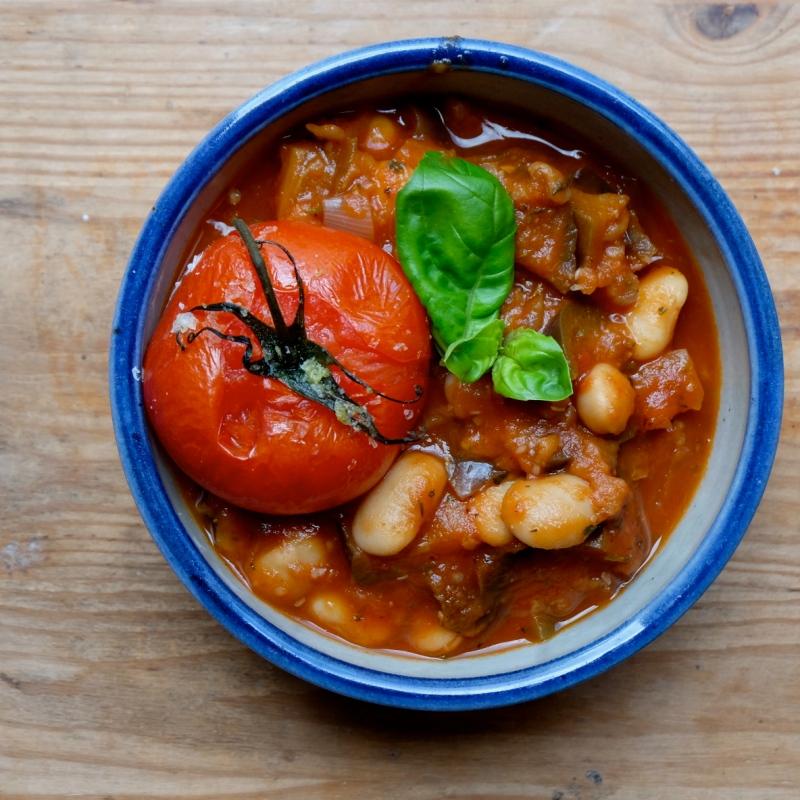 aubergine-bean stew