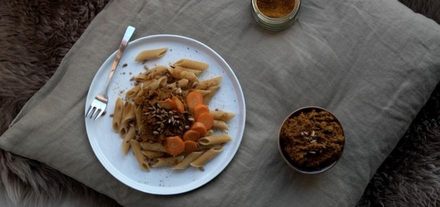 carrot pesto on pasta