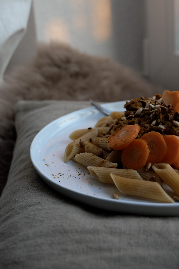 carrot pesto with pasta kuechlein