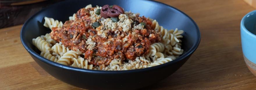 vegane Pasta Bolognese mit Pilz-Hack